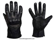 MEN'S MOTORCYCLE RACING LEATHER BLACK GLOVES W/ KNUCKLES PROTECTION BLACK