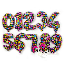"""1pc 16"""" Number 0-9 Balloon Colorful Dot Happy Birthday Party Deco Favor B59 S#"""