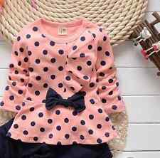 2PCS New baby Girls Kids Top+ pants Set Clothes Girls Cute Bowknot Clothes