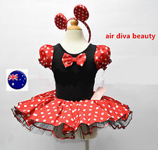 Girls Kid Halloween Disney Minnie Mouse Ballet Tutu Tulle Costume Dress Headband