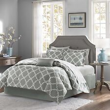 BEAUTIFUL CHIC MODERN REVERSIBLE BED IN BAG GREY WHITE COMFORTER SET SOFT SHEETS