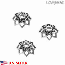 925 Sterling Silver Flower Beads Cap Connector Jewelry Making Findings 9mm Dia