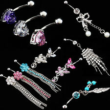 Surgical Piercing Body Jewelry Navel Belly Barbell Button Bar Navel Ring Crystal