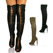 New Womens Ladies Over the Knee Boots Thigh High Stiletto Heel Lace Up Shoe Size