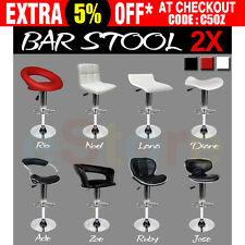 2 x PU Leather Bar Stool Kitchen Dining Home PVC Chair Gas Lift Black White Red