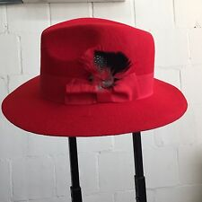 Men's 100% Wool Hat Fedora Trilby Mobster Red Color with/ Feather design