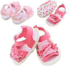0-18M Infant Baby Girls Pleated Lace Soft Sole Sandals Summer Crib Shoes