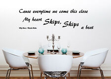 My Heart Skips A Beat Olly Murs Music Lyrics Bedroom Decal Wall Sticker Picture