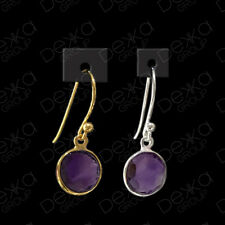 925 Sterling Silver / 18K Gold Vermeil Amethyst Round Disc Drop Dangle Earrings
