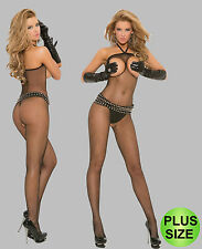 PLUS SIZE SEXY BLACK FISHNET OPEN BUST CUPLESS BODYSTOCKING CATSUIT 14-16-18-20