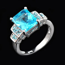 10*8MM Aquamarine Sapphire CZ Rings Women's 18Kt Solid White Gold Filled Sz 6-10