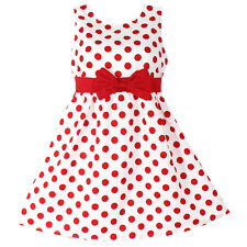 NWT Girls Dress Red Polka Dot Bow Cotton Party Birthday Kids Clothes Size 2-12Y