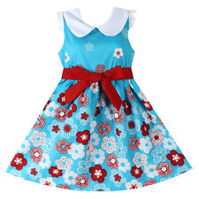 NWT Girls Dress Blue Flower Print Cotton Sundress Party Kids Clothing Size 4-14Y