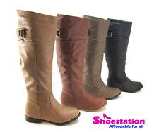 NEW Womens Shoes Boots Knee High Motorcycle Riding Military Flat Slouch Fashion