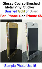 Glossy Coarse Brushed Metal Vinyl Sticker For iPhone 4/4S Full Body Decal Skin