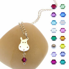 Handmade 925 Sterling Silver Birthstone Hippo Necklace - Hippo Jewellery