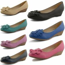 Womens Ladies Ballerina Shoes Low Wedge Heel Flower Ballet Dolly Pumps Size UK