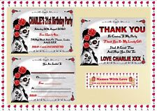 Gothic Style Birthday Party Invitations Personalised or Thank You Cards  X 10