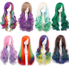 Women Lolita Harajuku Long Curly Wavy Full Hair Wigs Cosplay Party Costume Wig