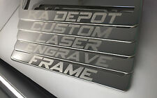 Custom Personalized Laser Engrave Polish or Black License Plate Frame w Logo New