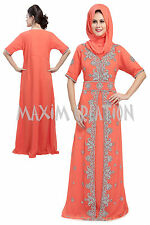 EXCLUSIVE CAFTAN GEORGETTE ARABIAN JILBAB JALABIYA FANCY WEDDING GOWN DRESS 5200