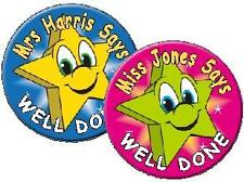 Teachers Awards Well Done Personalised Name Stickers Stars Labels  Decals School