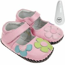 Girls Toddler Leather Soft Sole Baby Shoes Pink & Coloured Flower  & Shoe Horn