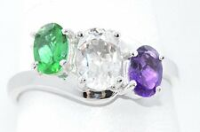 2 Ct Emerald White Topaz & Amethyst Oval Ring .925 Sterling Silver