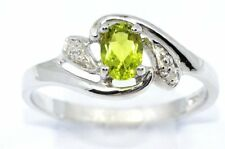 0.50 Ct Peridot & Diamond Oval Ring .925 Sterling Silver
