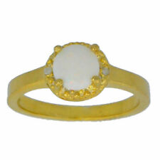 6mm Genuine Opal & Diamond Round Ring 14Kt Yellow Gold Plated