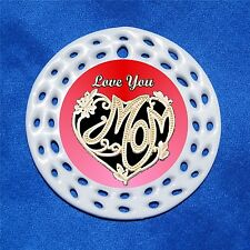 Love You Mom Porcelain Gift 3 Formats Gold Heart Red Mother Mothers Day