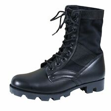"""BLACK Jungle Boots-8"""" Military Style Tactical Leather  ROTHCO 5081"""