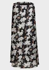 womens white/brown/black floral plus size chiffon fully lined calf length skirt