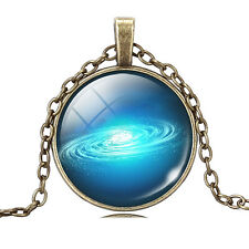 Fashion Galaxy Glass Cabochon Antique Bronze Chain Pendant Necklace Xmas Gift
