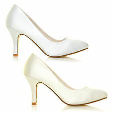NEW WOMENS SATIN MID HI HEEL BRIDAL WEDDING PROM PARTY EVENING SHOES SIZE 3-8
