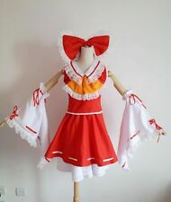 Touhou Project Hakurei Reimu Cosplay Costume Red Mix White Full Set Fold Dress