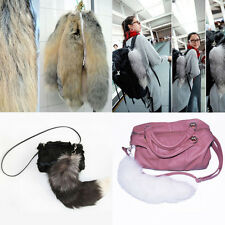 1Pcs Fashion Women Soft Faux Fur Fox Tail Key Chain Bag Charm Handbag Pendant