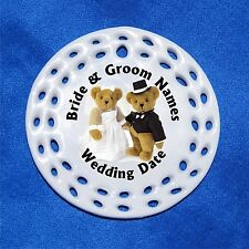 Wedding Bears CUSTOM Personalized Porcelain Gift 3 Formats Bride Groom Newlyweds