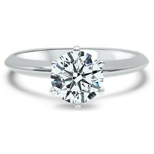 cz cubic zirconia solitaire engagement ring 1 carat 6 prong 14k white gold