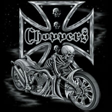 Choppers Iron Cross Skeleton Skull Riding Motorcycle Biker T-Shirt Tee