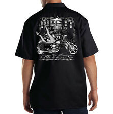 Dickies Black Mechanic Work Shirt Ride It Hard Biker Motorcycle Pin Up Girl