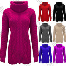 Womens Baggy Cowl Polo Neck Chunky Cable Knit Jumper Pullover Ladies Sweater Top