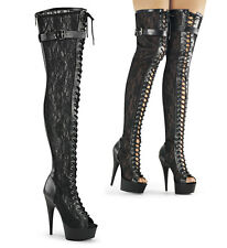 Pleaser Delight 3025ML Thigh High Over The Knee Boots Heels Platform Peep Toes