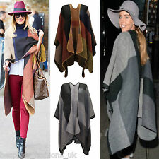 Ladies Women's Checked Patched Multi Knitted Winter Stylish Cape Poncho Shawl