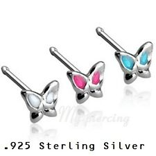 1PC. 20g .925 Sterling Silver Epoxy Colored Winged Butterfly Nose Bone