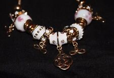 Beautiful Charm Bracelets with Hearts Infinity Sign Swirls Pink or White Pearl