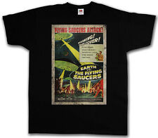 EARTH VS. FLYING SAUCERS I T-SHIRT - Retro UFO Alien Sci Fi Movie Roswell