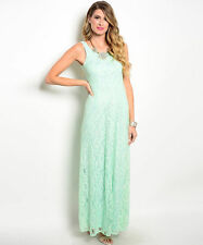 Love Point Womens Sleeveless Green Lace Gown Maxi Dress - New with Tags
