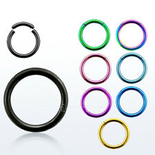 "2pc.16g, 14g~1/4""- 1/2"" Anodized Segment Ring Ear Lip Septum Cartilage Nose Hoop"