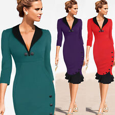 NEW Womens V-Neck Bodycon Pencil Dress Office Business Career Party Wear to Work